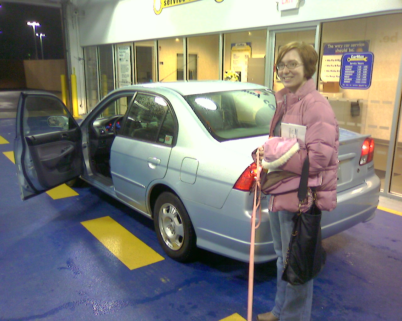My first, and probably last, new car, a Honda Civic Hybrid, as I bid it goodbye for the last time